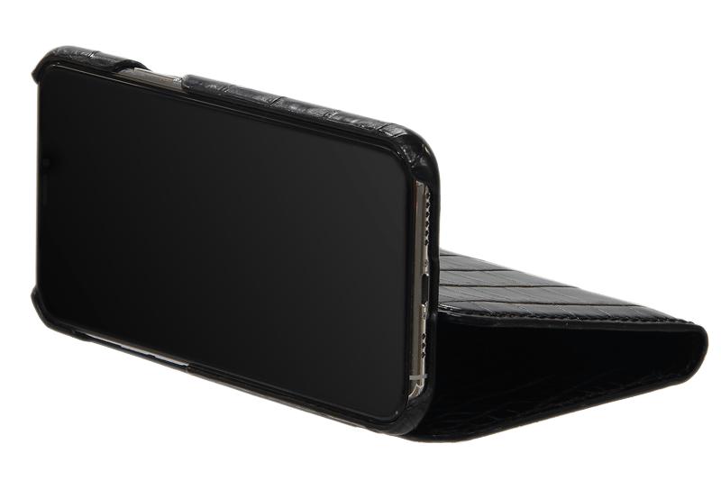 スマートフォンケース ポケット付 フォールディングタイプ プレミアム ブラック for Apple iPhone 12 / 12 Pro