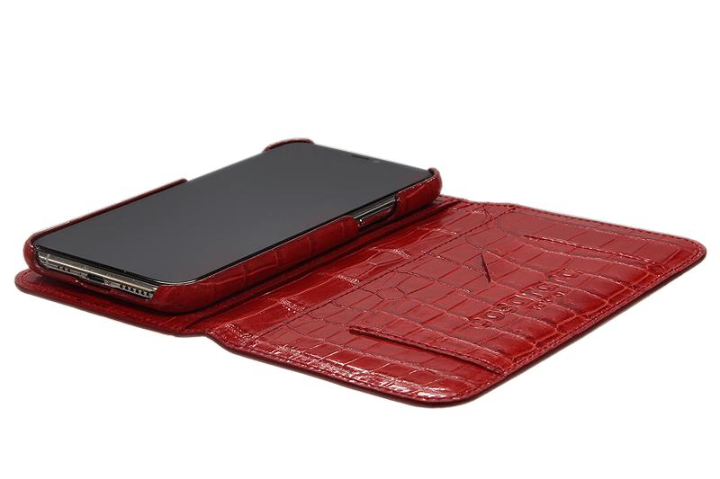 スマートフォンケース ポケット付 フォールディングタイプ プレミアム レッド for Apple iPhone 12 Pro Max