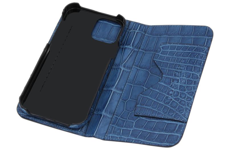スマートフォンケース ポケット付 フォールディングタイプ プレミアム 藍 for Apple iPhone 12 / 12 Pro