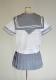 wcs-03<br>春夏 半袖 セーラー服  白×グレー