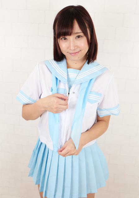wcs-04<br>春夏 半袖 セーラー服  白×水色