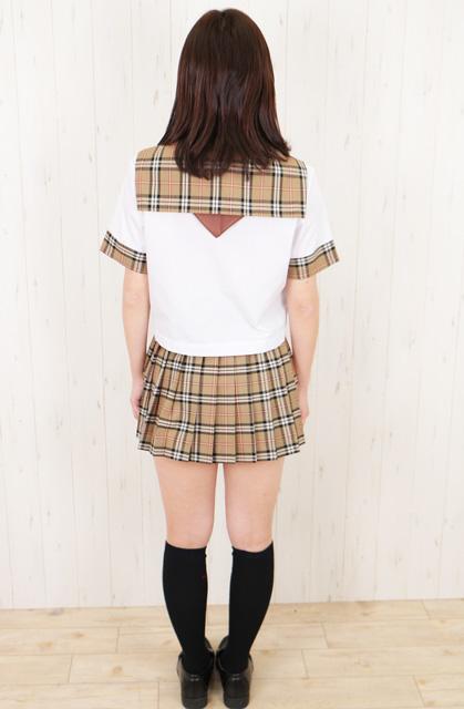 wcs-05<br>春夏 半袖 セーラー服  白×バーバリーチェック タイプ