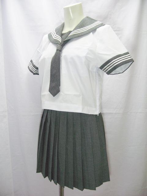 コスメイトオリジナル<br>ネクタイ付グレー半袖<br>セーラーセット<br>日本製