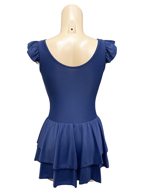 コスメイトオリジナル!ダブルスカートタイプ肩フリルレオタード全2色日本製