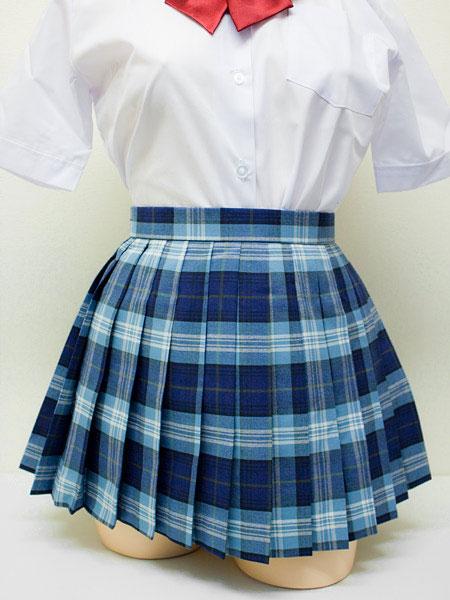 wsk-15<br>チェック プリーツ スカート 青×グレー