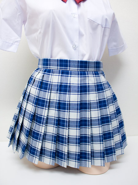 wsk-23<br>チェック プリーツ スカート 白×青