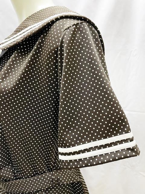 【数量限定】コスメイトオリジナル 水玉柄2WAYストレッチ素材 半袖セーラーワンピース