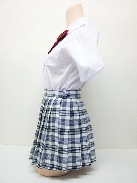 wsk-30<br>チェック プリーツ スカート 白×水色×グレー