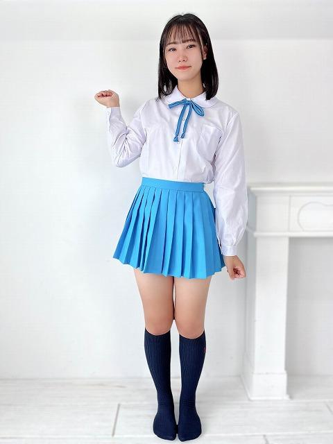 水色プリーツスカート ミニ丈  日本製
