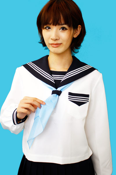 wcs-11 秋冬セーラー服  オフホワイト×濃紺