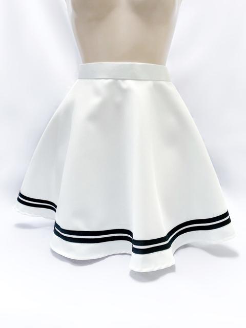 コスメイトオリジナル 大きめサイズ 2本ライン入りフレアースカート 日本製