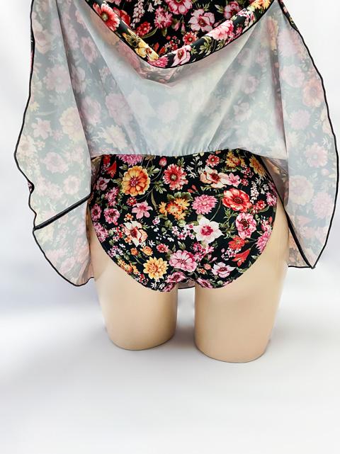 【期間限定セール】コスメイトオリジナル 花柄チャイナカラー肩フリル付レオタード(スカートタイプ)