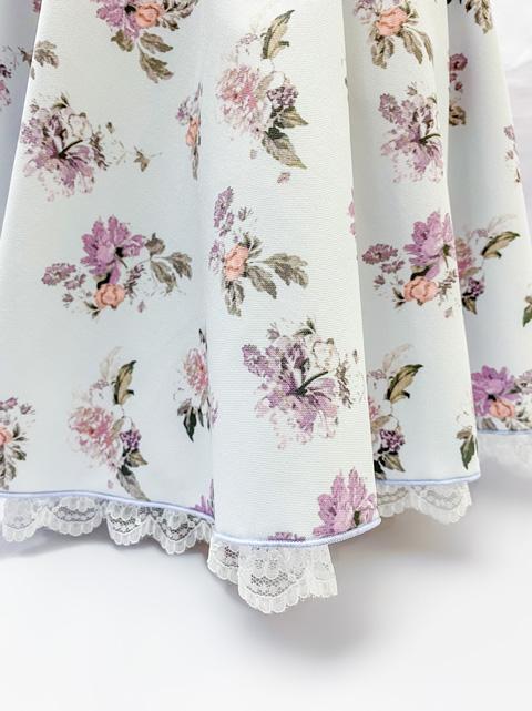 コスメイトオリジナル 大きめサイズ!花柄レース付きフレアースカート 【全2色】 日本製