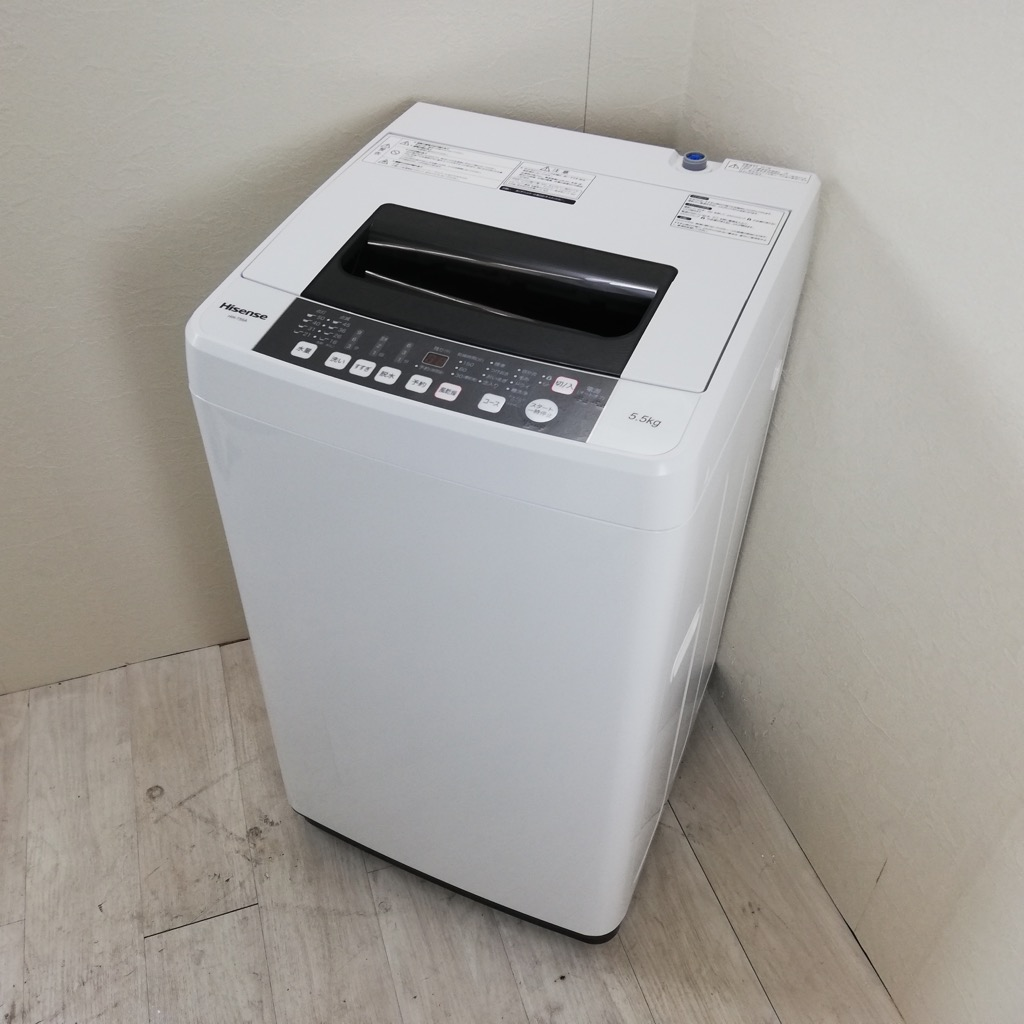 中古 全自動洗濯機 送風乾燥 5.5kg ハイセンス 2017年製造 槽洗浄コース 単身用 一人暮らし用 新生活家電 6ヶ月保証付き【型番掲載商品】