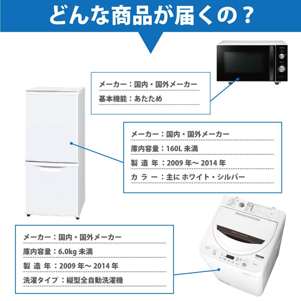 サブスクレンタル専用 中古家電セット 冷蔵庫 洗濯機 レンジ 3点セット 2009年〜2014年 サブスクリプション