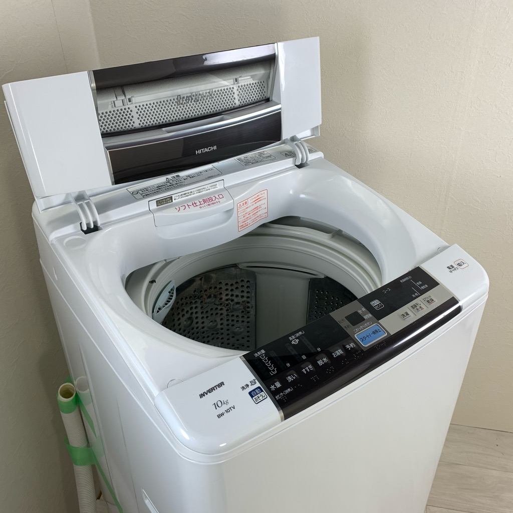中古 10kg大容量 全自動洗濯機 ビートウォッシュ 日立 BW-10TV-T 2014年製造 自動おそうじ機能 世帯向け まとめ洗い 大きい 6ヶ月保証付き【型番掲載商品】