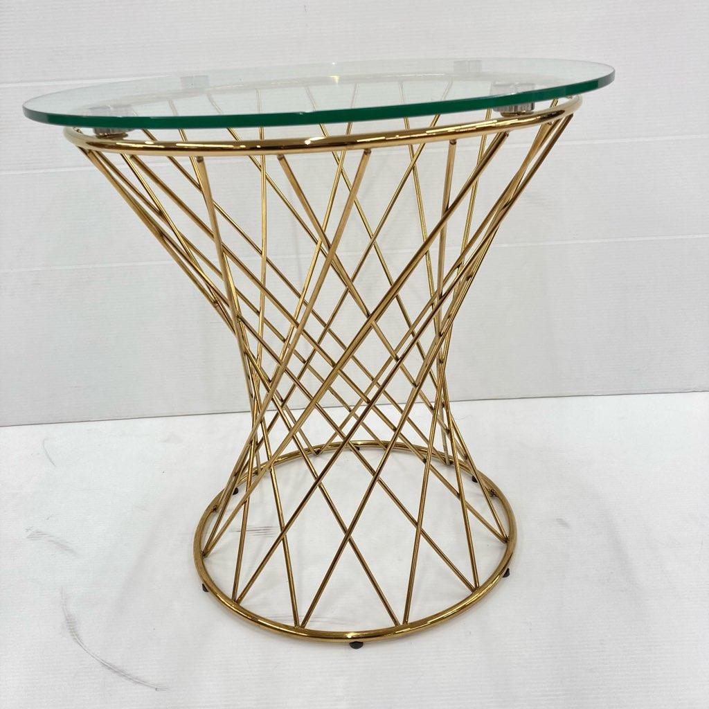 中古 Francfranc フランフラン マーリア サイドテーブル クリア×ゴールド φ50×H48.5
