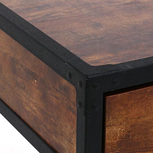 【サブスク専用】古木風加工のウッドとブラックフレームのヴィンテージデスク テレワークに最適