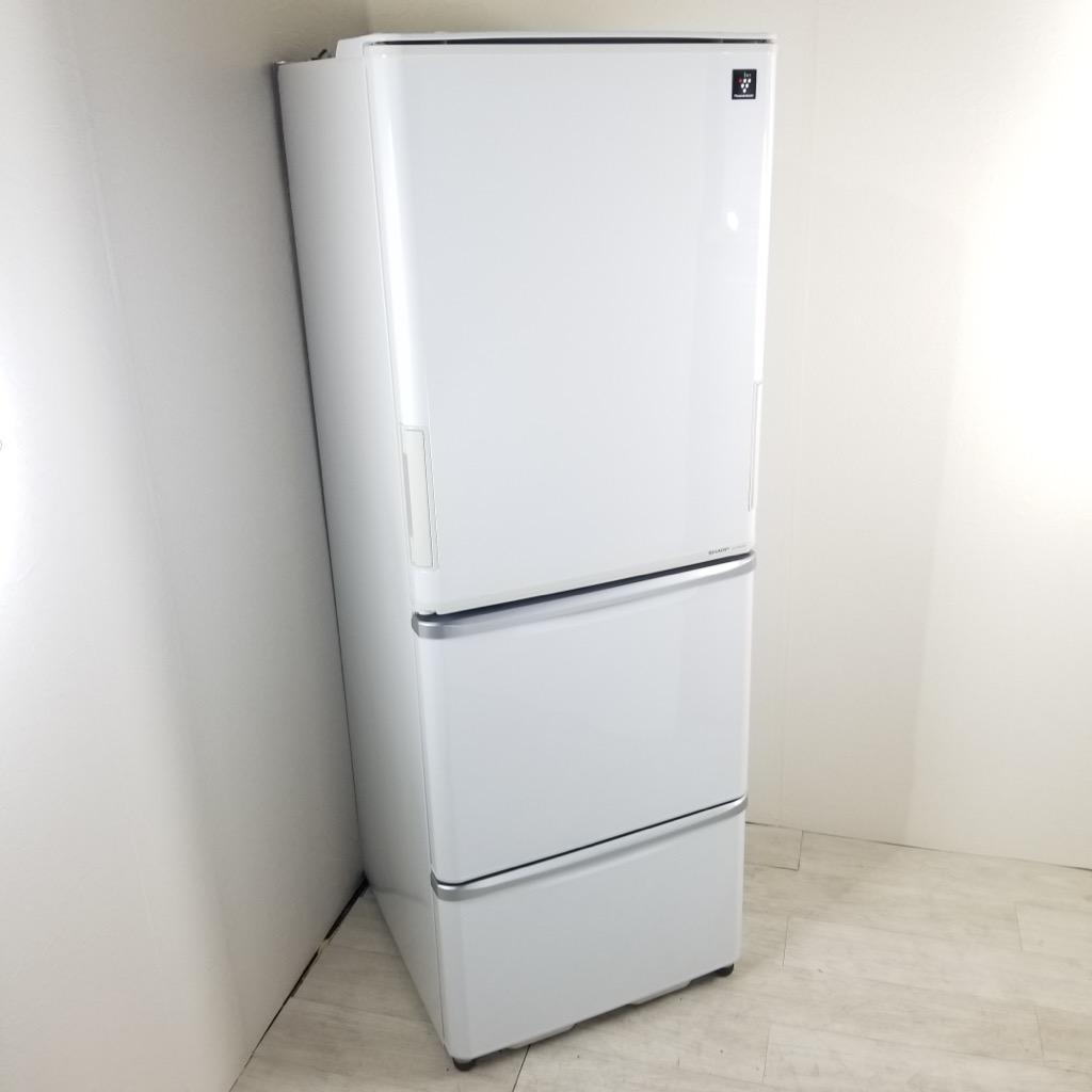 中古 シャープ 350L 3ドア冷蔵庫 SJ-PW35W-S 2012年製 両開きドア 自動製氷付 プラズマクラスター 世帯用 6ヶ月保証付き
