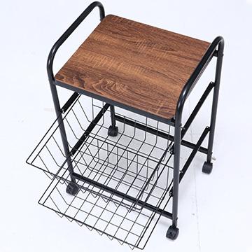【サブスク専用】シンプルキッチンワゴン バスケット収納でお部屋の収納にも使える
