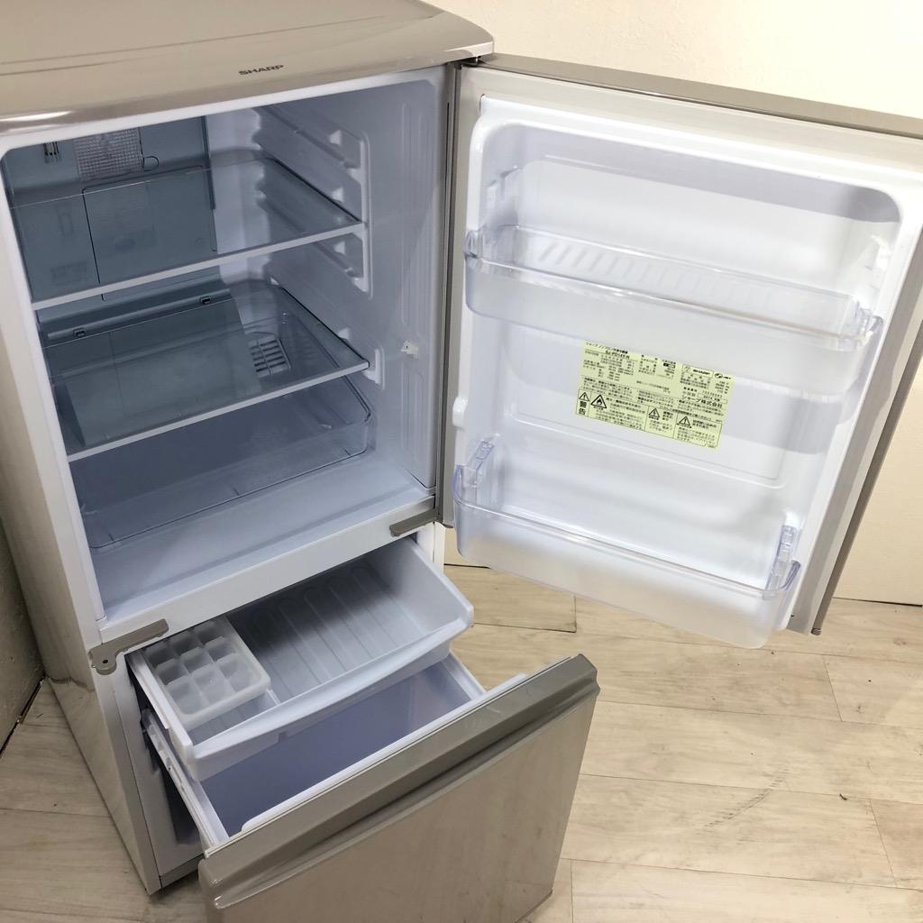 中古  137L プラズマクラスター 2ドア冷蔵庫 シャープ つけかえどっちもドア SJ-PD14Y-N 2014年製 自動霜取りファン式 6ヶ月保証付き