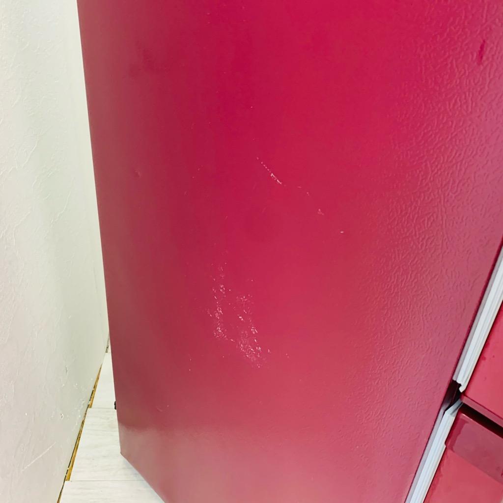 中古 高年式  2ドア冷蔵庫 自動霜取りファン式 ホワイト ハイアール アクア AQR-BK18G 2018年製 ルージュ レッド ワイド設計で庫内広々 6ヶ月保証付き