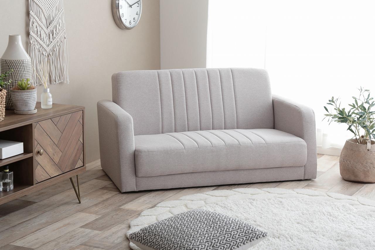【サブスク専用】北欧デザイン ストライプステッチが魅力の小ぶりなソファー 2人掛け