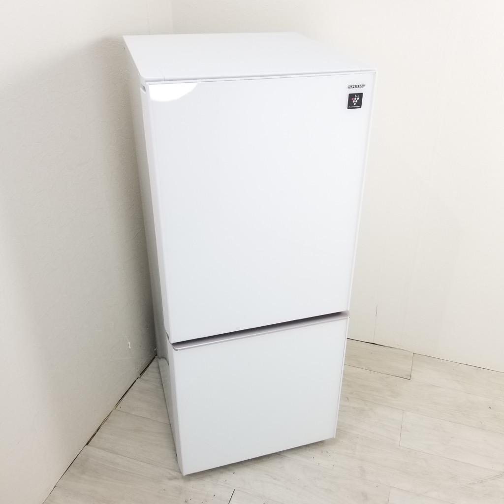 中古  137L ガラスドア 2ドア冷蔵庫 シャープ 2018年製 つけかえどっちもドア ホワイト 一人暮らし 単身用 6ヶ月保証付き【型番掲載商品】