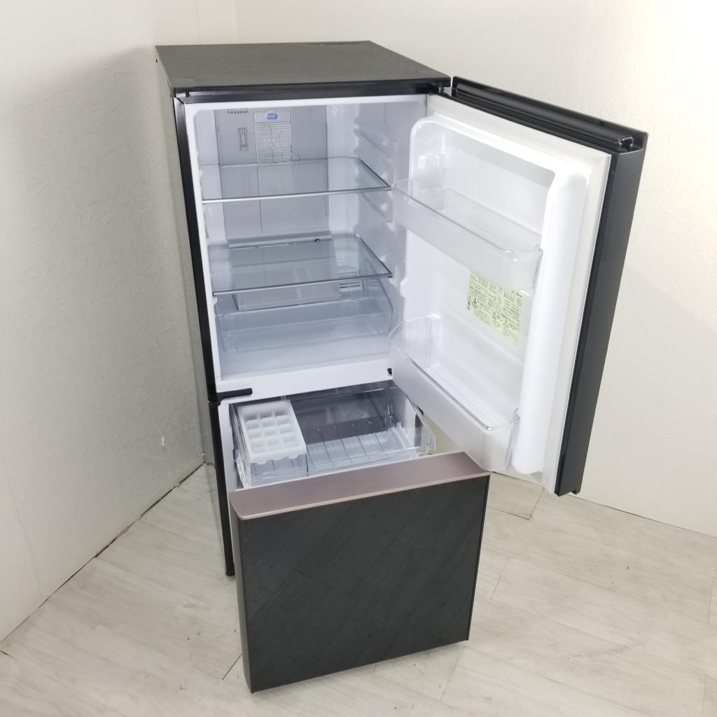中古  137L ガラスドア 2ドア冷蔵庫 シャープ SJ-GD14D-B 2018年製 ブラック つけかえどっちもドア 一人暮らし 単身用 6ヶ月保証付き