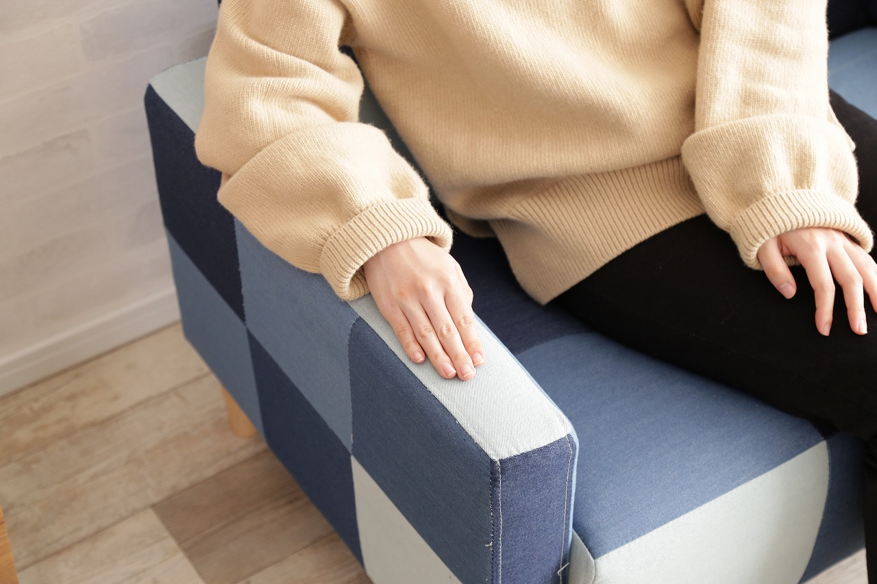 【サブスク専用】2人掛けコンパクト デニムパッチワークソファー
