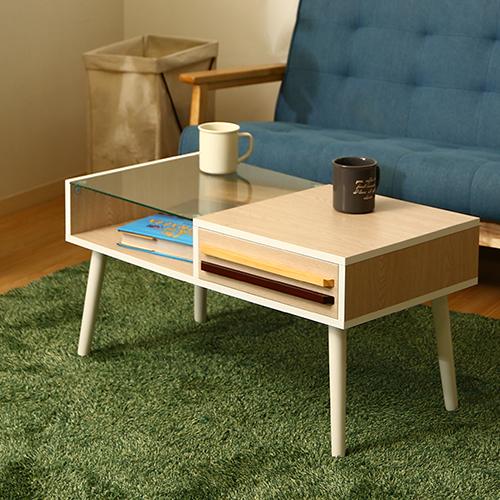 ディスプレイ収納付きリビングテーブル