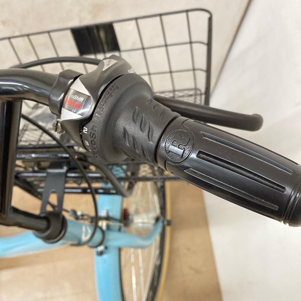 中古 美品 ほぼ未使用 近郊送料格安 CBA カーグバケット 24インチシティサイクル BAA-L 6段変速 オートライト ブルー系