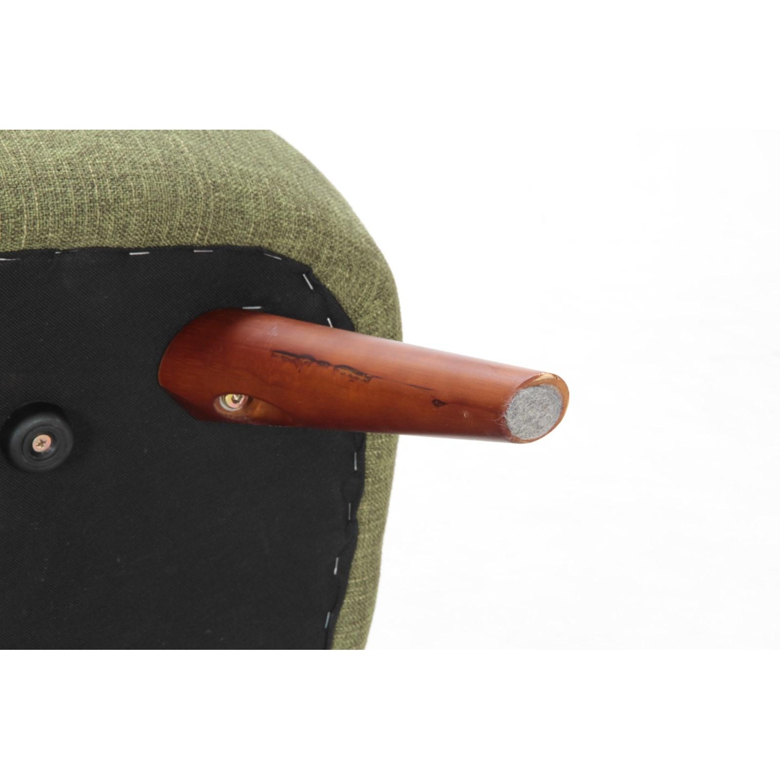 【サブスク専用】丸い木脚とグリーンのレトロ感あるファブリックソファー