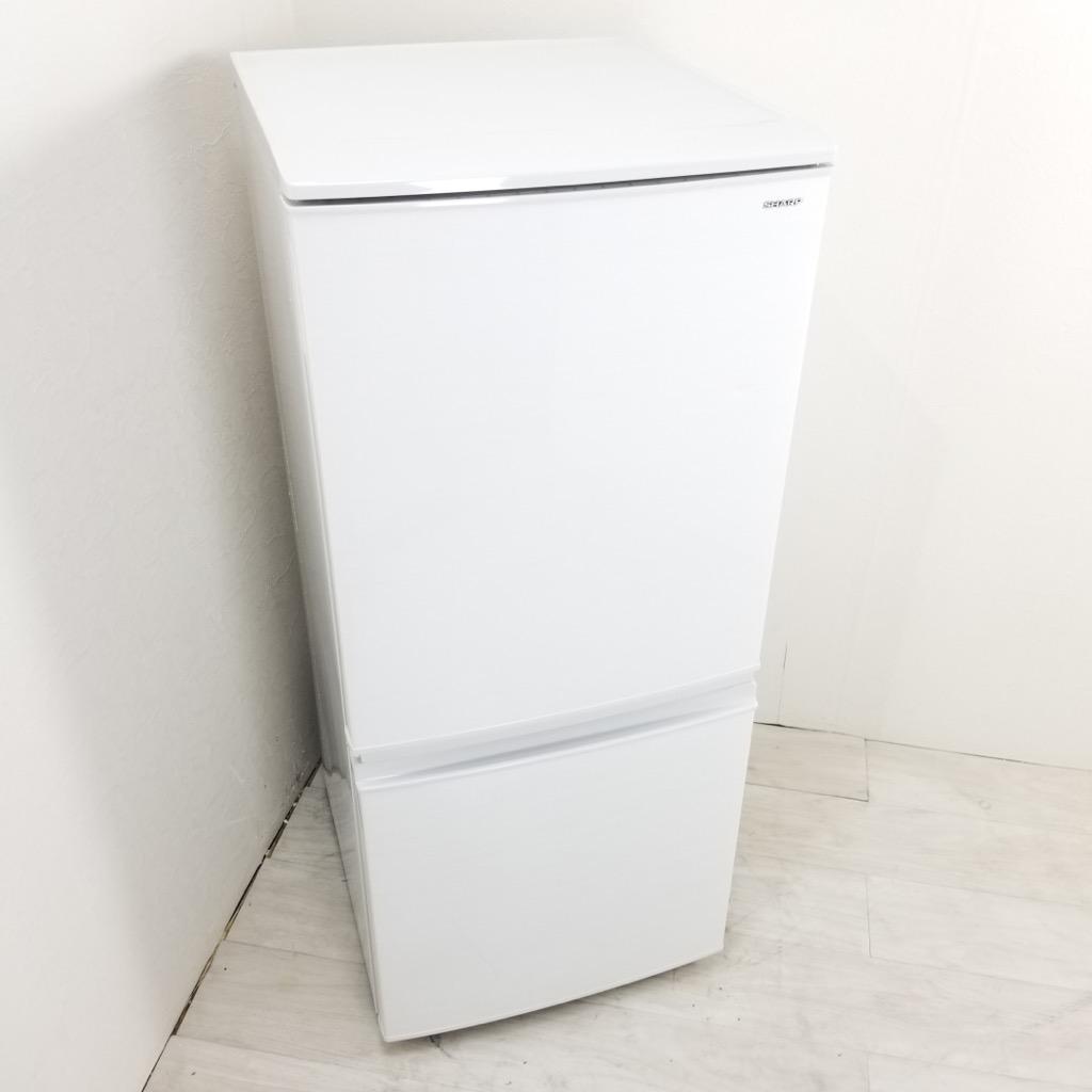 中古  137L つけかえどっちもドア ホワイト 2ドア冷蔵庫 シャープ SJ-D14D-W 2017年製 自動霜取りファン式 一人暮らし 単身用 6ヶ月保証付き