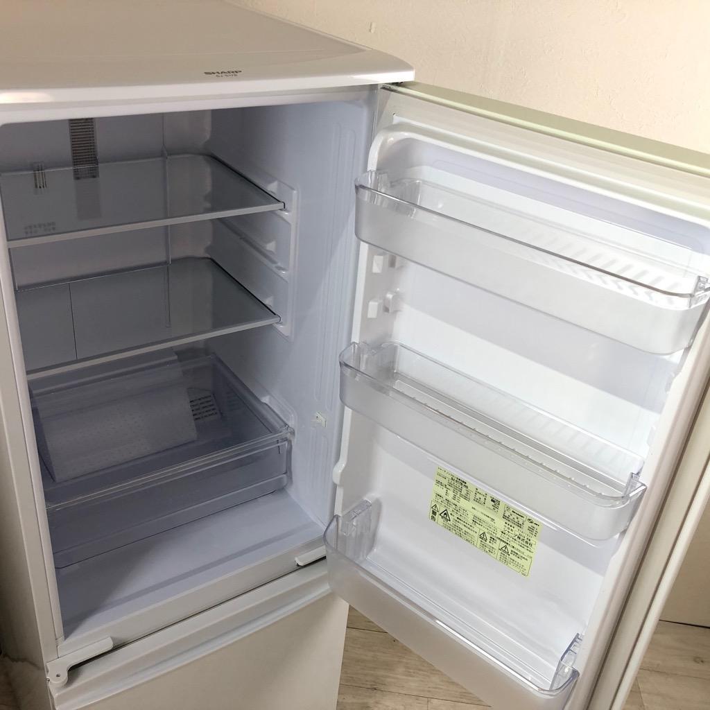 中古  167L 2ドア冷蔵庫 シャープ つけかえどっちもドア 2015年 ホワイト自動霜取りファン式 一人暮らし 単身用 6ヶ月保証付き【型番掲載商品】