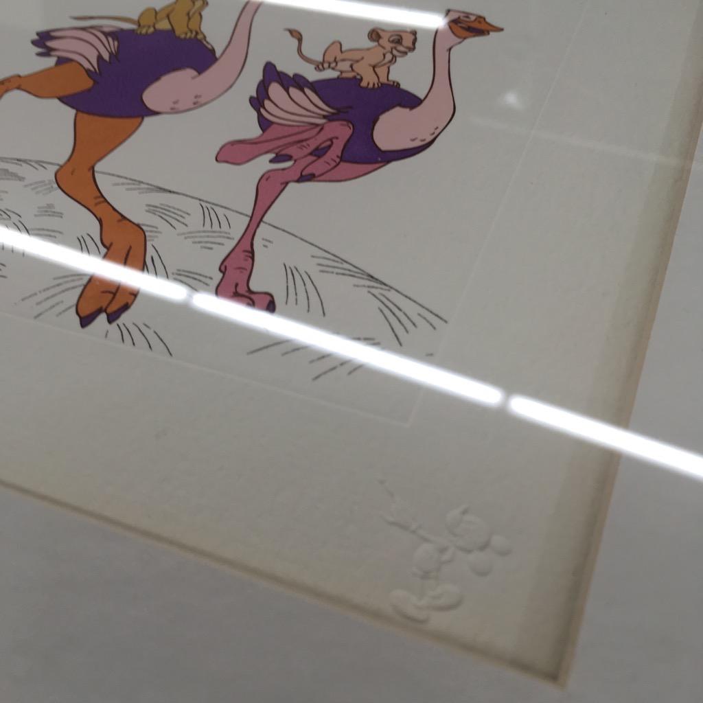 中古 Disney Treasures 1994 ダチョウに乗ったシンバとナラ ライオンキング アートフレーム