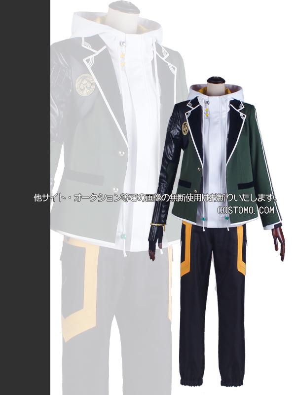 【送料無料】とうらぶ風 緑×白×黒 パーカー(白) 桑名江