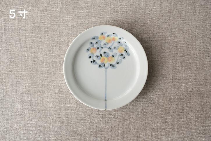 色絵桃の木 皿 (九谷青窯・堀畑蘭)