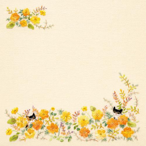 花の刺しゅうメモ帳 ねこと出会うフラワーガーデン�、�、�