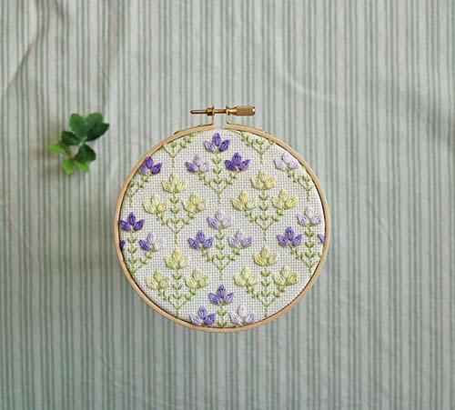 〈キット〉地刺しの連続模様2  春色の小花のオーナメント