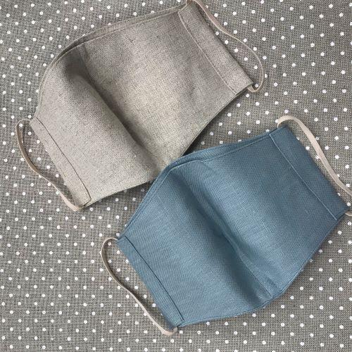リネン立体マスク(縫製品)/生成・ブルー