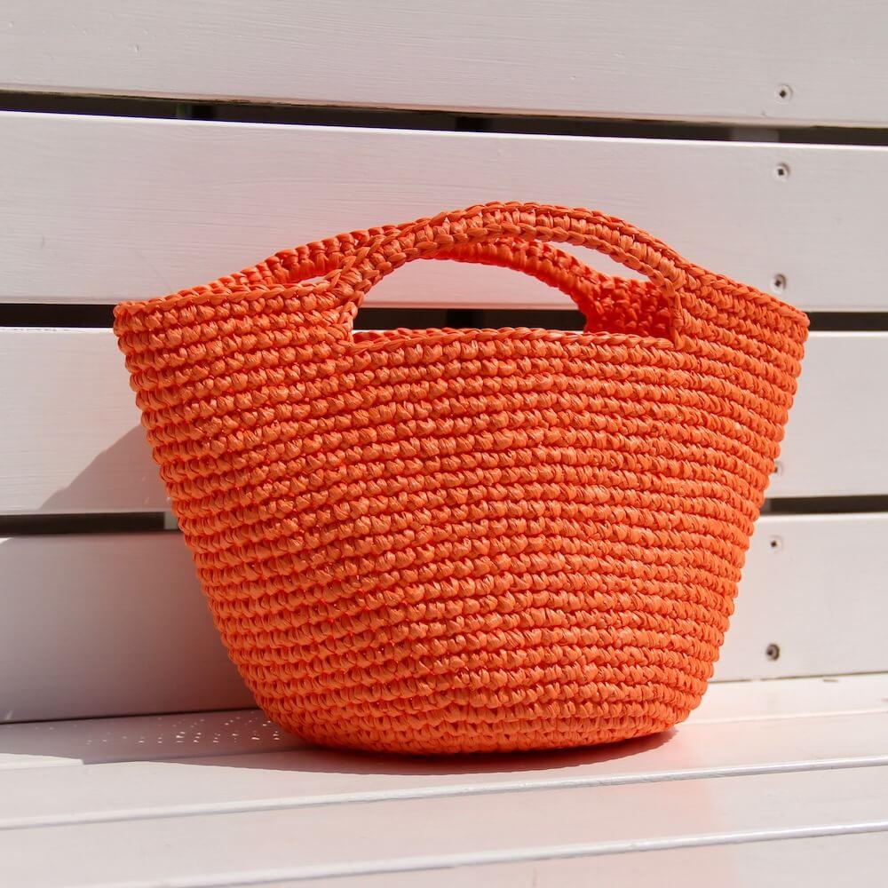 【コットンラフィア】510 オレンジ <編み物 かぎ針編み バッグ 帽子 麦わら帽子 におすすめのラフィア風手芸糸>