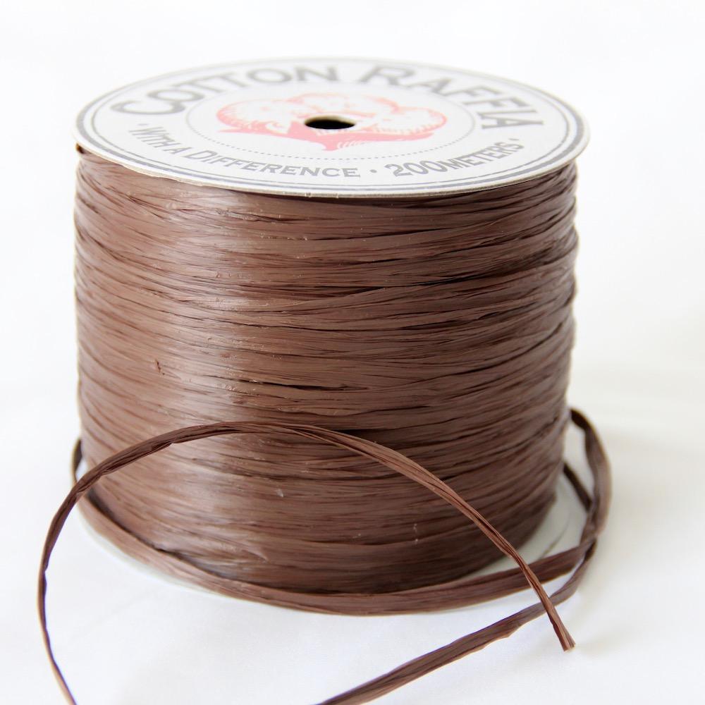 【コットンラフィア】130 モカ <編み物 かぎ針編み バッグ 帽子 麦わら帽子 におすすめのラフィア風手芸糸>