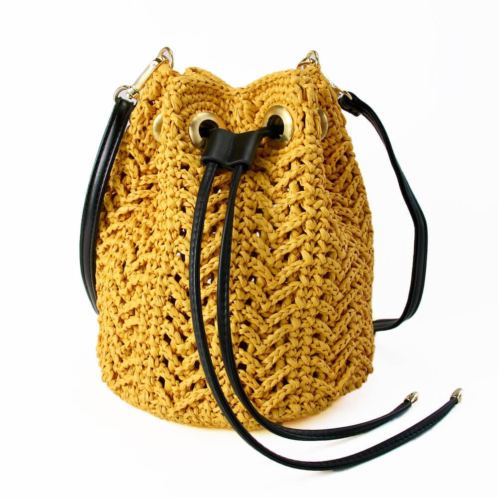 レースアロー巾着バッグ キット <ラフィア糸でおしゃれな透かし編み巾着バッグ>