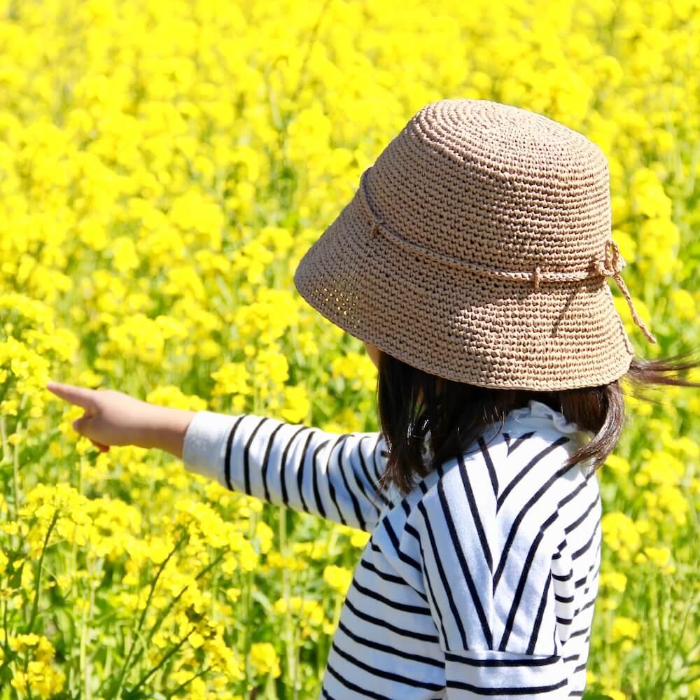 キッズクローシュハット キット 〈ラフィア風糸で編む簡単初心者向け麦わら帽子〉