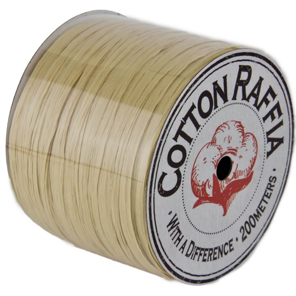 【コットンラフィア】120 ナチュラル <編み物 かぎ針編み バッグ 帽子 麦わら帽子 におすすめのラフィア風手芸糸>