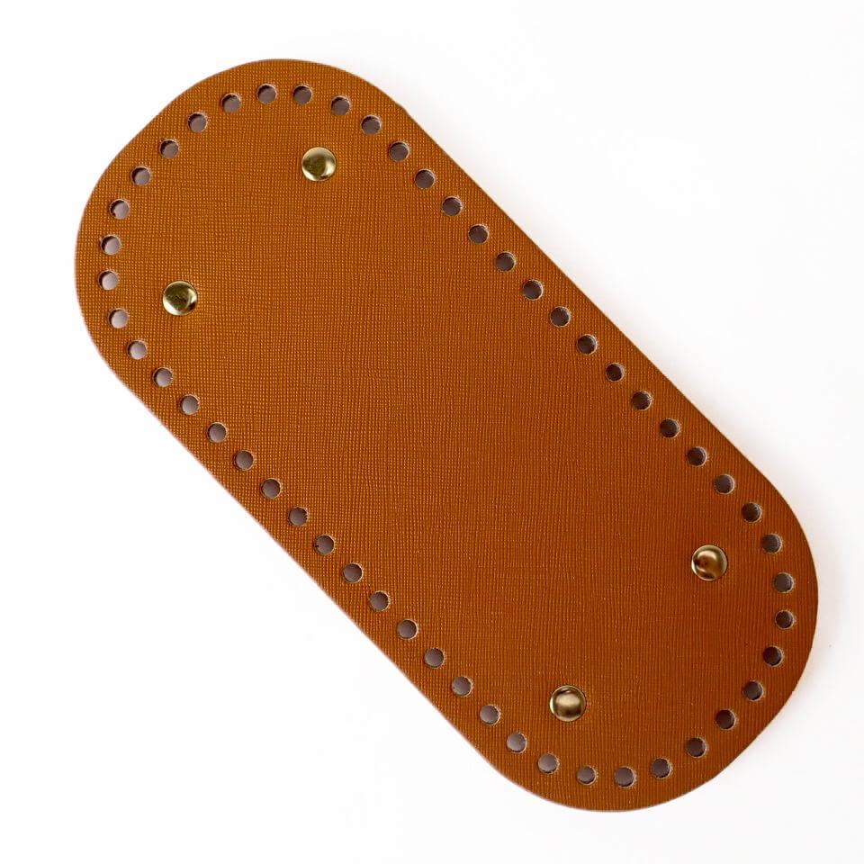 【送料無料】リベット付き底板 楕円型小(22cm×10cm)キャメル