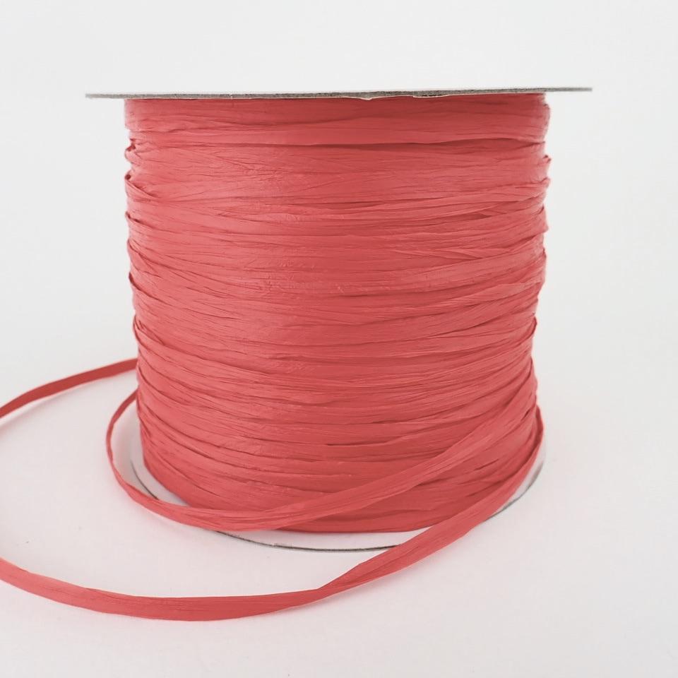 【コットンラフィア】300 レッド <編み物 かぎ針編み バッグ 帽子 麦わら帽子 におすすめのラフィア風手芸糸>