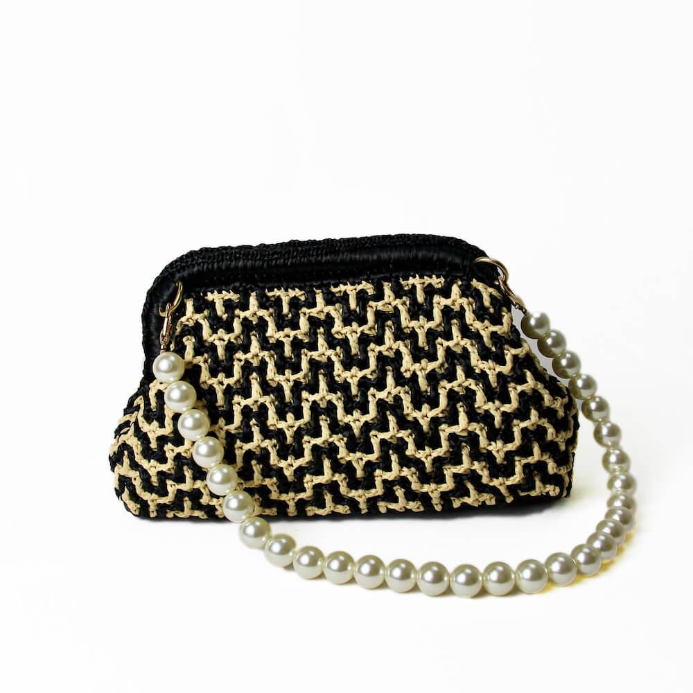 〈キット〉「モザイククロッシェミニバッグ」キット(ブラック×ナチュラル) Designed by Ami-Chiku labo