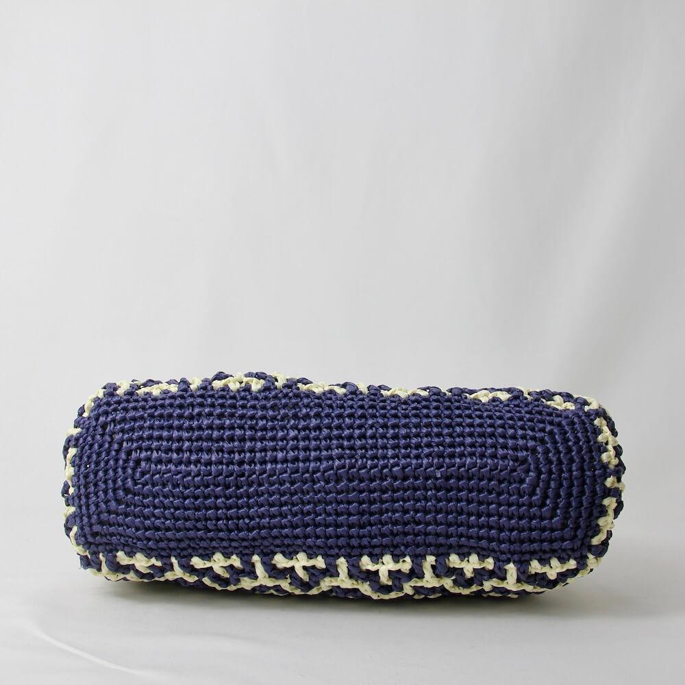 〈キット〉「モザイククロッシェミニバッグ」キット(ディープシー×ホワイト) Designed by Ami-Chiku labo